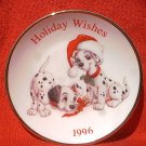 DISNEY 101 DALMATIONS HOLIDAY WISHES 1996 ORNAMENT PLATE ~GOLD TRIM