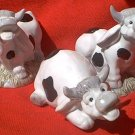 SET OF 3 CHARMING BLACK AND WHITE COW FIGURINES ~CUTE AND COMICAL