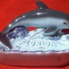 VINTAGE FLORIDA SOUVENIR ASHTRAY WITH DOLPHIN ~JAPAN~BLUE