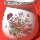 CABBAGE ROSE TRANSFER SPONGED RIM VASE ~4 IN~PRETTY