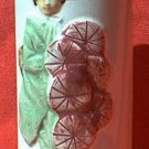 VINTAGE ORCHIDS OF HAWAII TUBE VASE ~ JAPAN~LADY IN KIMONO WITH HATS