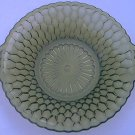 VINTAGE AVOCADO GREEN PIERCED TAB HANDLED GLASS NUT CANDY SERVING DISH