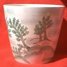 HANDPAINTED CERAMIC FLOWER POT ~4.5 INCH~GREEN/WHITE