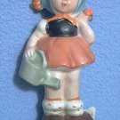 VINTAGE GIRL WITH WATERING CAN FIGURINE ~MADE IN jAPAN~HUMMEL TYPE~4.5 in