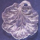 VINTAGE GLASS LEAF DISH ~CLEAR~VERY DETAILED~POSS FENTON?