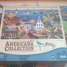 MEGA AMERICANA COLLECTION JIGSAW PUZZLE ~MARIE FOX~NANTUCKET ISLAND~500 COMPLETE~FOLK ART