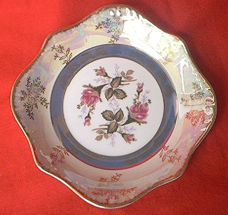 VINTAGE MOSS ROSE DISH ~MADE IN JAPAN~GOLD TRIM ~LUSTREWARE~PEARLESCENT~BEAUTIFUL