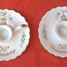 VINTAGE LEFTON CHINA 50TH GOLDEN ANNIVERSARY CANDLE HOLDERS~SET OF 2~HAND PAINTED~1103