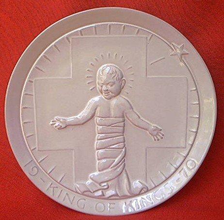 FRANKOMA POTTERY 1970 KING OF KINGS PLATE ~BABY JESUS~JOHN FRANK INCISED SIGNATURE