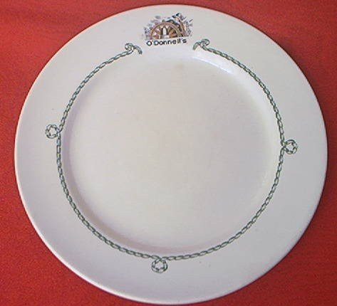 MAYER CHINA NAUTICAL DINNER PLATE ~O'DONNELLS RESTAURANT ADVERTISING LOGO~c1950'S