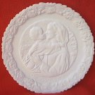 FENTON GLASS MOTHERS DAY PLATE 1974 ~WHITE~MADONNA/CHILD~4TH IN SERIES