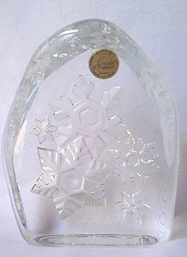 CRISTAL d'ARQUES LEAD CRYSTAL SNOWFLAKES PAPERWEIGHT~GLASS~1999~FRANCE