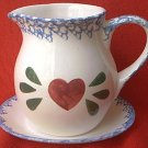 HAND PAINTED CERAMIC PITCHER AND SAUCER SET~RED HEART~BLUE SPONGING~CHINA