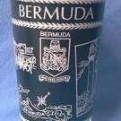 BERMUDA SOUVENIR PICTORAL GLASS ~c 1960'S~BLACK, WHITE, GOLD~MEN IN STOCKS