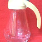 VINTAGE GLASS SYRUP PITCHER ~YELLOW PLASTIC CAP WITH METAL SLIDE~MID CENTURY~RETRO