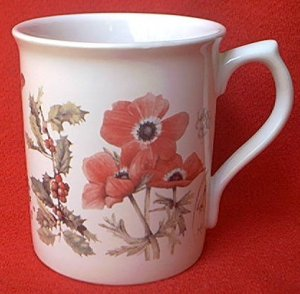 MARJOLEIN BASTIN 1997 MUG ~RED POPPIES~RABBIT~PINE TREE CONE