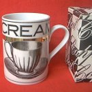 DEPARTMENT  56 CREAM MUG ~MINT~IN ORIG. BOX~BLACK-WHITE-GOLD