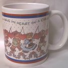 YOU HAVE MY HEART ON A STRING TEDDY BEAR VALENTINE MUG ~1998 ~LUCY RIGG