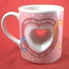 PAPEL LOVE IS HEART THRU CENTER VALENTINE MUG ~ODD SHAPE