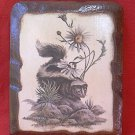 DECORATIVE WOODEN SKUNK PLAQUE ~MOELLER~ 4.5 x 5.5 inches