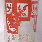 FEDERAL GLASS CO SWANKY SWIG JUICE GLASS ~RED AND WHITE LEAVES