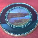 VINTAGE ROUND SILHOUETTE FRAME CONVEX GLASS SCENIC PICTURE ~ 6 IN.