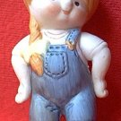 1980 PIGTAIL GIRL IN DENIM OVERALLS FIGURINE ~3.5 IN