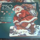 BITS AND PIECES 750 JIGSAW PUZZLE ~HERE COMES SANTA CLAUS~SHAPED~CORK ~L JOHNSON~COMPLETE ~CHRISTMAS