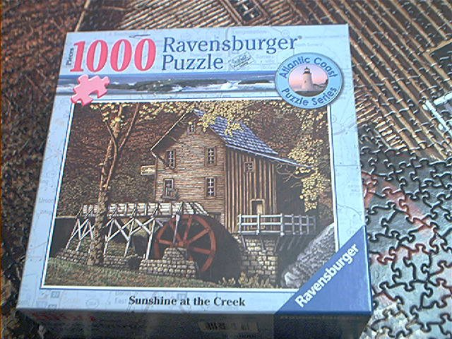 RAVENSBURGER 1000 PC JIGSAW PUZZLE ~SUNSHINE AT THE CREEK~COMPLETE~WATERWHEEL~MILL