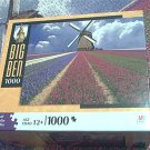 M BRADLEY BIG BEN JIGSAW PUZZLE ~FLOWER FIELD NETHERLANDS~COMPLETE~WINDMILL