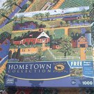 MEGA HOMETOWN JIGSAW PUZZLE ~HERONIM WYSOCKI~KITE FLYING AT RECESS~COMPLETE~RURAL VILLAGE
