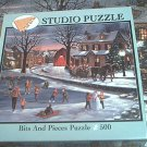 BITS AND PIECES 500 PC JIGSAW PUZZLE ~H HARGROVE~HEART OF CHRISTMAS~COMPLETE~SKATING SCENE