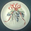 LENOX CHINA CATHERINE McCLUNG WINTER GREETINGS SMALL DISH ~4 INCH~RED RIBBON/HOLLY~CHRISTMAS
