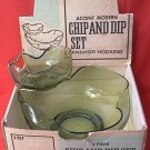 VINTAGE ANCHOR HOCKING 3 PIECE CHIP AND DIP SET ~NEVER USED~IN ORIGINAL BOX~AVOCADO GREEN