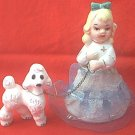 VINTAGE GIRL WITH POODLE DOG ON CHAIN LEASH FIGURINE ~JAPAN~NET SKIRT~CUTE