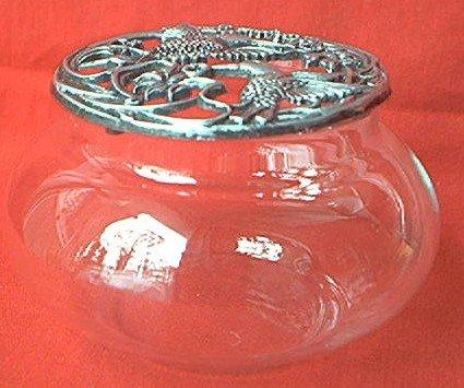 PEWTER AND GLASS HUMMINGBIRD POTPOURRI VANITY JAR -PRETTY