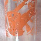 VINTAGE KRAFT CHEESE SWANKY SWIG JUICE GLASS ~RED PYRO CHURN -BABY CRADLE