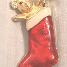 RED CHRISTMAS STOCKING WITH MOUSE ENAMEL GOLDTONE METAL PIN