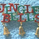 JINGLE BELLS CHRISTMAS HOLIDAY METAL PIN ~RED AND GREEN~TINY BELL CHARMS
