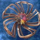 UNUSUAL OPEN WORK METAL FLOWER PIN BROOCH ~BROWN WITH ORANGE FIRE RHINESTONE CENTER