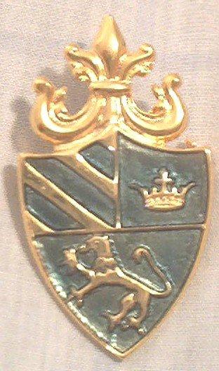 HERALDRY SHIELD GOLD TONE METAL GREEN ENAMEL PIN BROOCH ~LION~CROWN