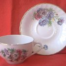 VINTAGE ROYAL ARDALT BONE CHINA CUP AND SAUCER SET ~ENGLAND~FLORAL~GOLD TRIM