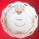 LEFTON HAPPY ANNIVERSARY RETICULATED DISH ~PINK ROSES~GOLD TRIM~JAPAN~MICHIO SUZUKI DESIGN