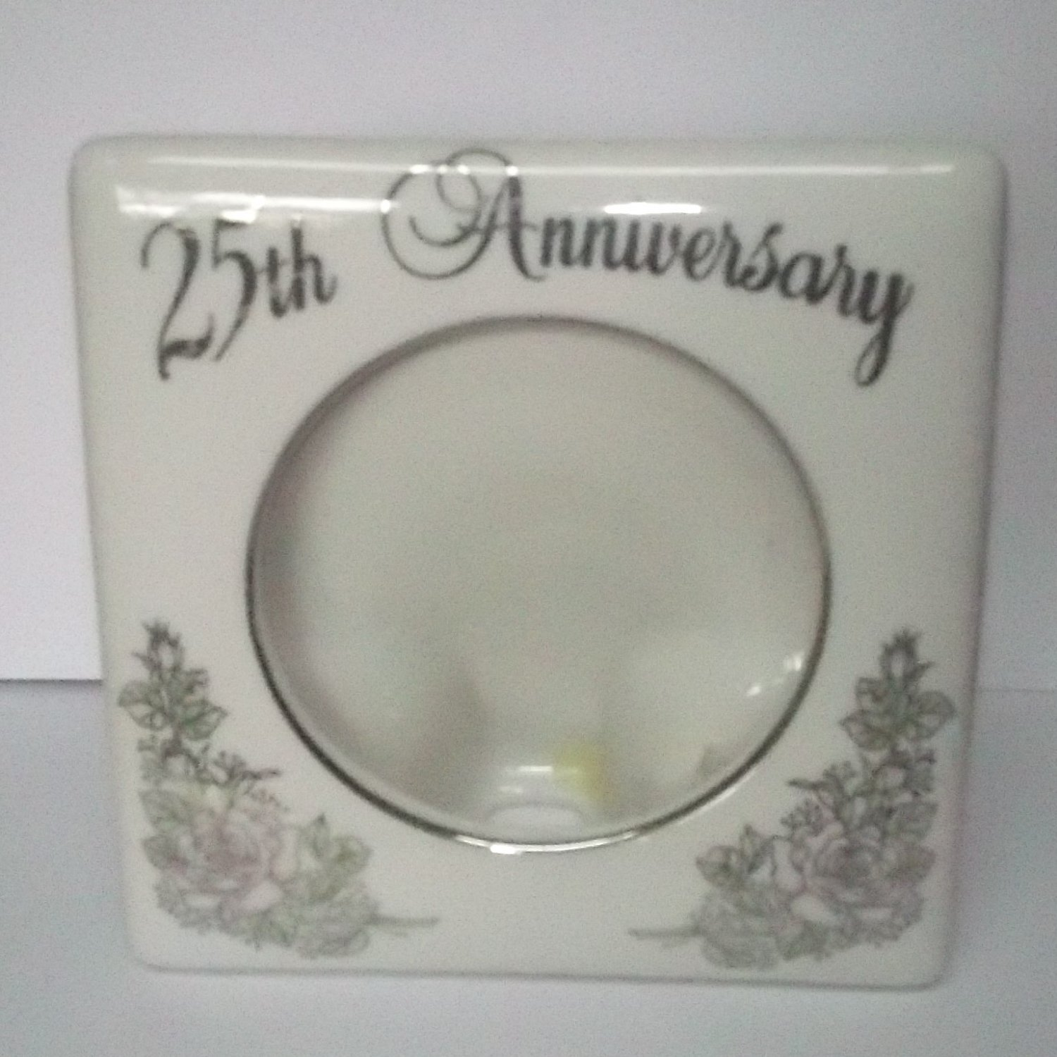 ENESCO 1983 25TH SILVER WEDDING ANNIVERSARY PORCELAIN PHOTO FRAME