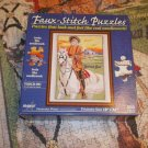 FAUX-STITCH JIGSAW PUZZLE~BUFFALO BILL ON HORSE~LOOK & FEEL OF NEEDLEWORK~COMPLETE