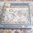 BITS AND PIECES 500 PC JIGSAW PUZZLE ~OLD WORLD MAP~COMPLETE