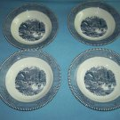 VINTAGE CURRIER AND IVES~EARLY WINTER~BLUE AND WHITE~SOUP BOWLS~SET OF 4~ROYAL CHINA