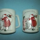 VINTAGE LOVE IS THE MAGIC OF CHRISTMAS MUG SET (2) ~ HOLLY HOBBIE ~ FEDERAL MILK GLASS~SANTA~