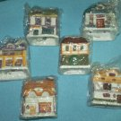 DICKENS VILLAGE BELL LITES~SET OF 6~CHRISTMAS~ORNAMENTS~COTTAGES~SET