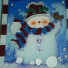 SNOWMAN SUNCATCHER~CHRISTMAS~COLORFUL~STAINED GLASS~ RED/WHITE/BLUE~HOLIDAY